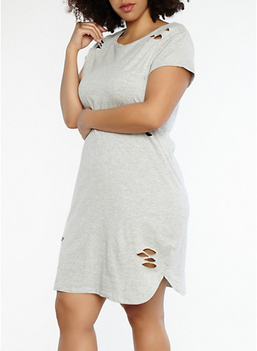 Plus Size Distressed T Shirt Dress,HEATHER,large