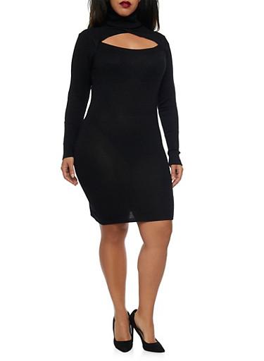 Plus Size Turtleneck Bodycon Sweater Dress with Cutout,BLACK,large