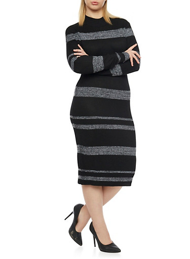 Plus Size Long Sleeves Ribbed Midi Dress,BLACK,large