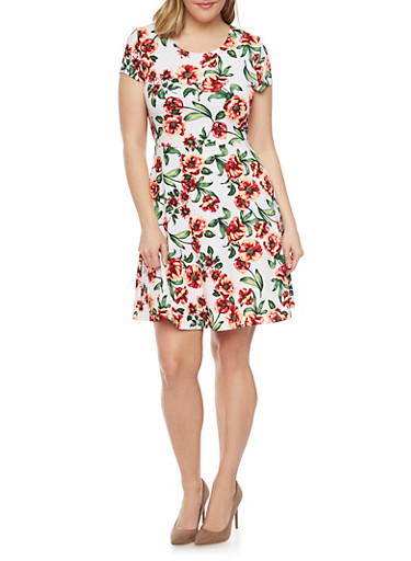 Plus Size Floral Scoopneck Skater Dress,WHITE,large