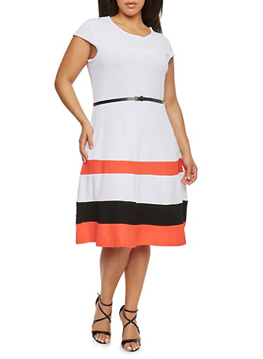 Plus Size Color Block Skater Dress with Belt,WHITE,large