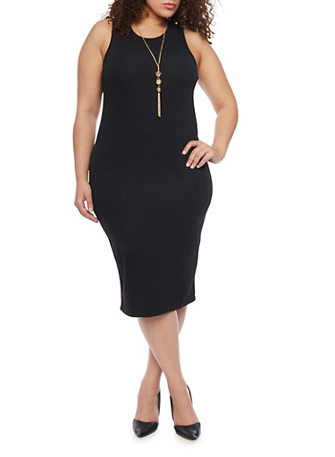 Plus Size Textured Knit Bodycon Dress with Crew Neck and Necklace,BLACK,large