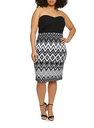 Plus Size Strapless Sweetheart Neck Bodycon Dress,BLACK/WHITE,large