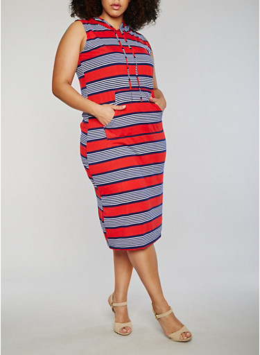 Plus Size Striped Midi Bodycon Dress with Hood,NAVY,large