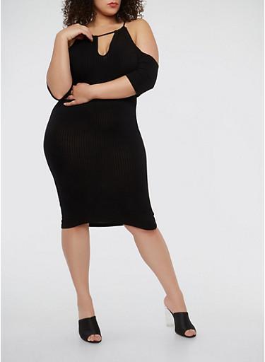 Plus Size Rib Knit Cold Shoulder Dress,BLACK,large