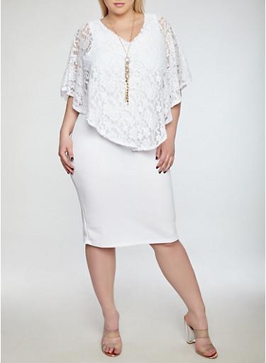 Plus Size Lace Overlay Dress,WHITE,large