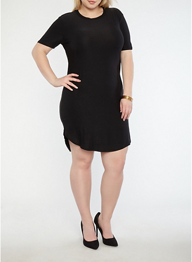 Plus Size Basic Soft Knit T Shirt Dress,BLACK,large