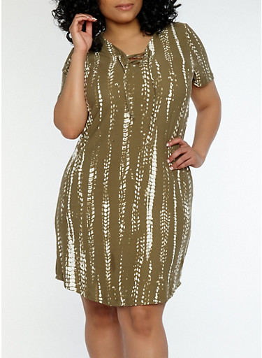 Plus Size Printed Lace Up Dress,OLIVE,large