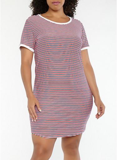 Plus Size Striped T Shirt Dress,NAVY,large