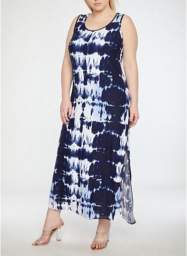 Plus Size Soft Knit Tue Dye Maxi Dress,NAVY/WHITE,large