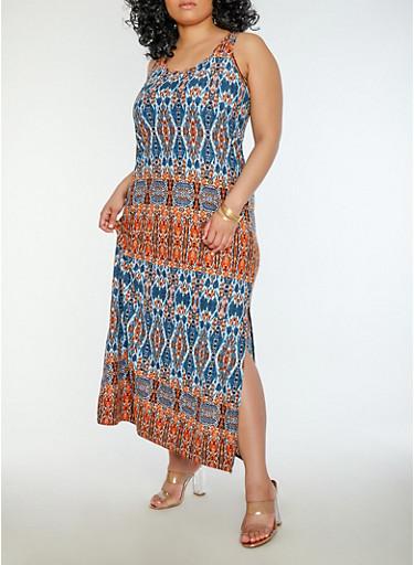 Plus Size Printed Soft Knit Maxi Dress,RUST,large