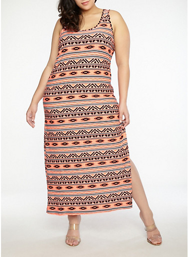 Plus Size Soft Knit Printed Maxi Dress,NEON CORAL,large