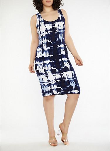 Plus Size Tie Dye Dress,NAVY/WHITE,large