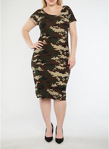 Plus Size Soft Knit Camo Print T Shirt Dress,CAMOUFLAGE,large
