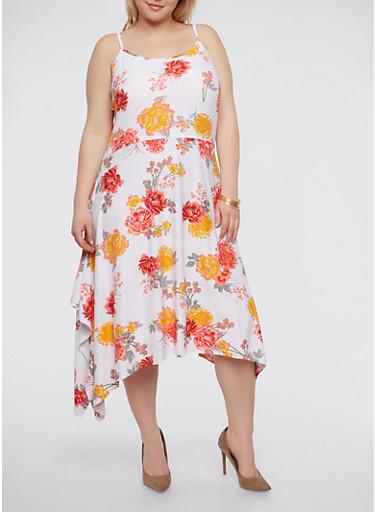 Plus Size Soft Knit Floral Skater Dress,WHITE,large