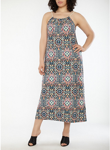 Plus Size Printed Maxi Dress with Rope Straps,MULTI COLOR,large