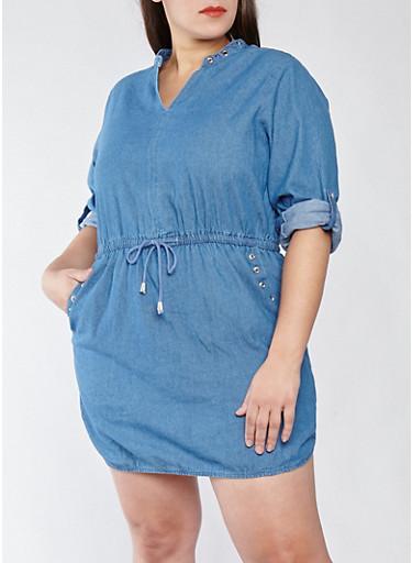 Plus Size Grommet Detail Denim Shift Dress,DENIM,large