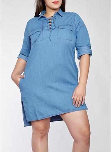 Plus Size Lace Up Denim Dress,DENIM,large