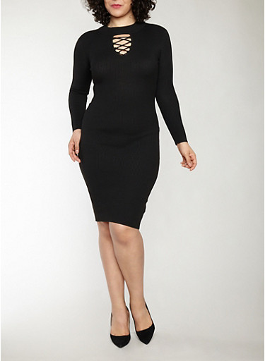 Plus Size Rib Knit Midi Sweater Dress,BLACK,large