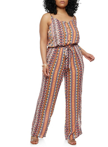 Plus Size Border Print Jumpsuit,IVORY,large