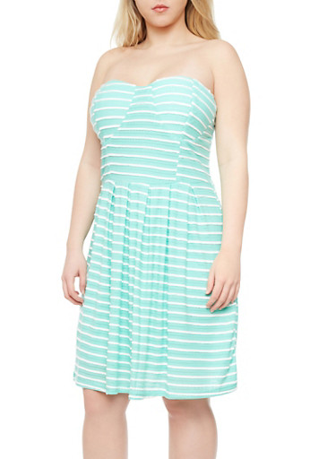 Plus Size Bustier Dress with Textured Stripes,MINT,large