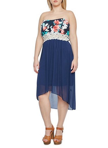 Plus Size Strapless High-Low Dress with Floral Bodice and Lace Trim,NAVY,large