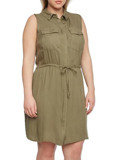 Plus Size Shirtdress with Drawstring Waist,OLIVE,large