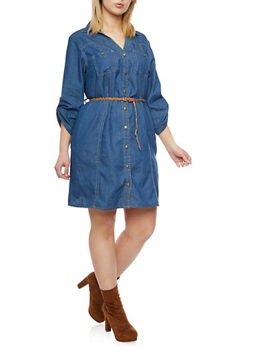 Plus Size Denim Button Up Shirt Dress with Braided Belt,LIGHT WASH,large