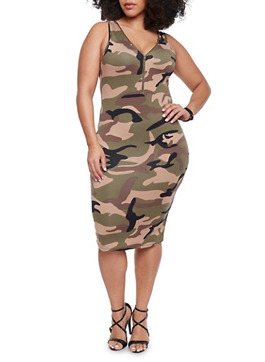 Plus Size Camo Bodycon Dress with Front Zipper,OLIVE,large