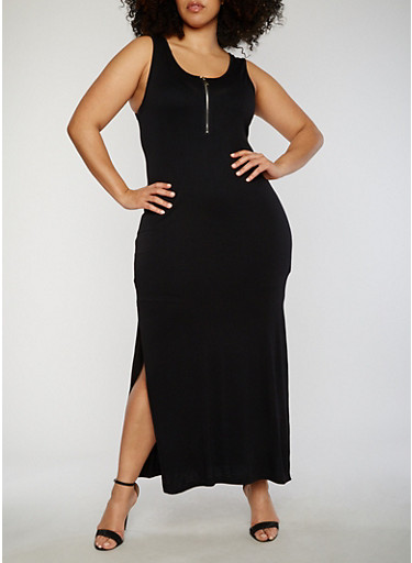 Plus Size Sleeveless Zip Front Maxi Dress,BLACK,large