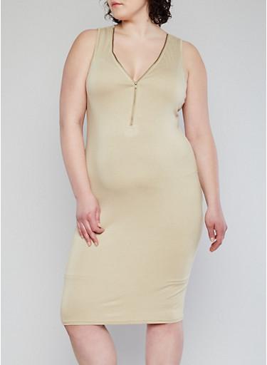 Zip Front Bodycon Dress Plus Size 78