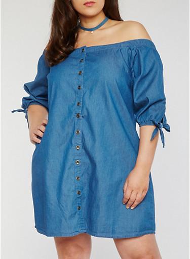 Plus Size Off the Shoulder Denim Button Front Dress,DENIM,large