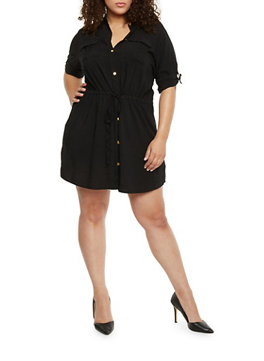 Plus Size Rolled Cuff Shirt Dress,BLACK,large