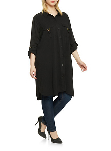 Plus Size Button Up Shirt Dress,BLACK,large