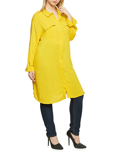 Plus Size Long Sleeve Button Up Maxi Top,MUSTARD,large