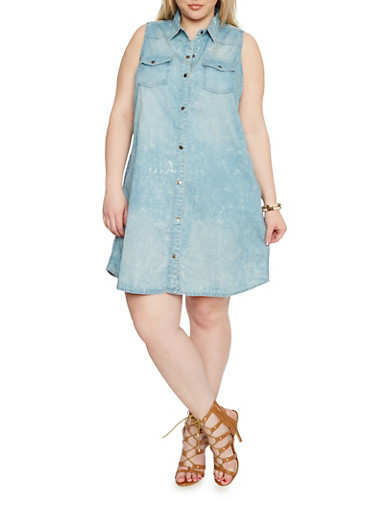 Plus Size Sleeveless Button Front Denim Shirt Dress,MEDIUM WASH,large