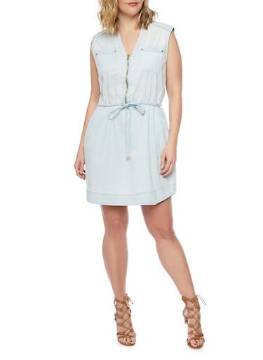 Plus Size Chambray Zip Front Dress,LIGHT WASH,large