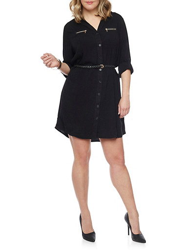 Plus Size Button Front Belted Shirt Dress,BLACK,large