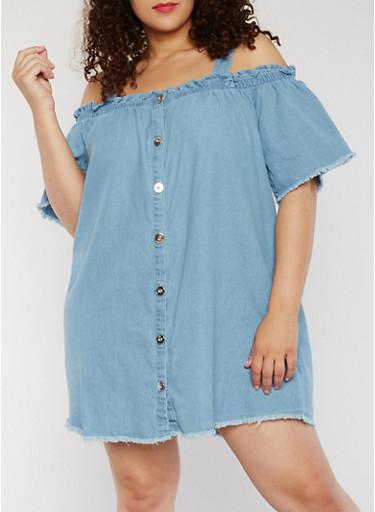 Plus Size Cold Shoulder Denim Shirt Dress,DENIM,large