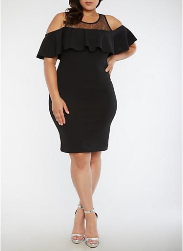 Plus Size Lace Yoke Cold Shoulder Dress,BLACK,large