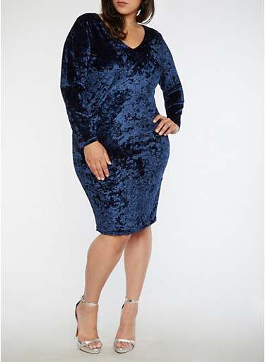 Plus Size Crushed Velvet Caged Back Dress,NAVY,large
