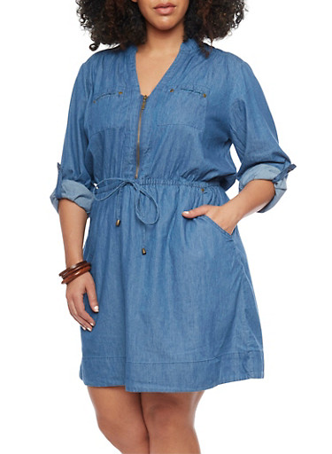 Plus Size Mandarin Collar Chambray Dress,MEDIUM WASH,large