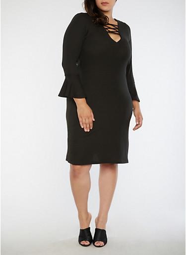 Plus Size Rib Knit Bell Sleeve Lace Up Dress,BLACK,large
