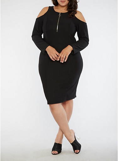 Plus Size Textured Knit Cold Shoulder Zip Dress,BLACK,large