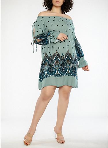 Plus Size Open Sleeve Paisley Print Dress,SAGE,large