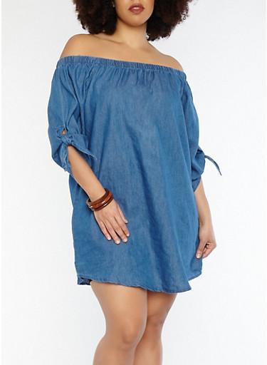 Plus Size Off the Shoulder Denim Dress,MEDIUM WASH,large