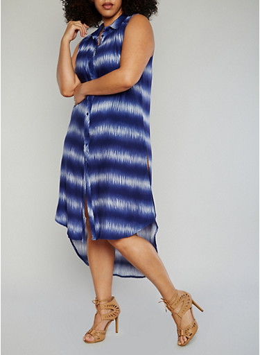 Plus Size Printed High Low Dress with High Side Slits,BLUE,large