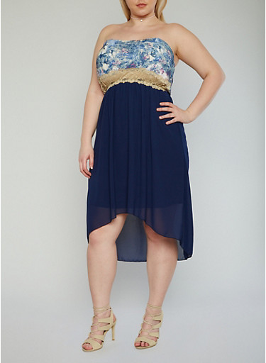 Plus Size Strapless High Low Dress with Lace Trimmed Floral Bustier,NAVY,large