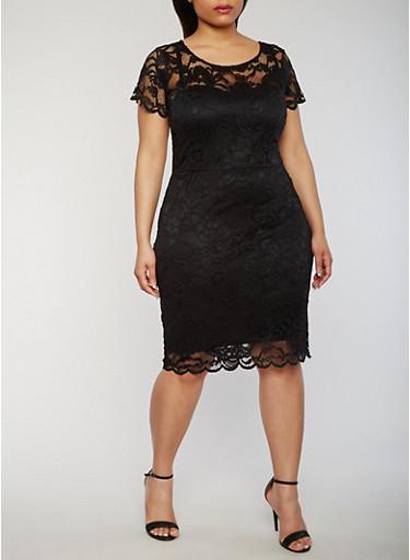 Plus Size Mid Length Lace Dress,BLACK,large
