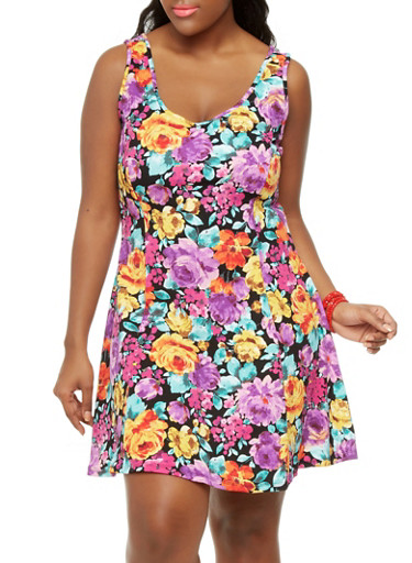 Plus Size Flower Child Skater Dress,BLACK,large